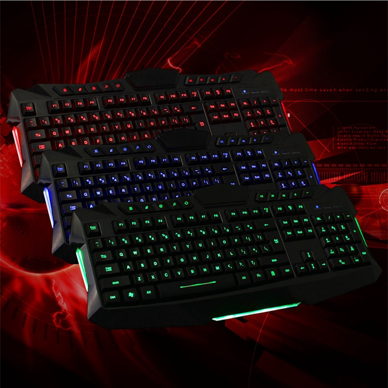 LED light 3 Colors Backlighting USB Wired 114 Keys Backlit Gaming Game Keyboard For Laptop Desktop PC For Windows XP/Win 7/Win 8<br><br>Aliexpress