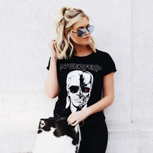 Shirts women's Tops Brand 2016 Fashion New Skeleton Head Printed Tee In Black Zombie Skull Punk Rock Cotton Shirts Women(China (Mainland))