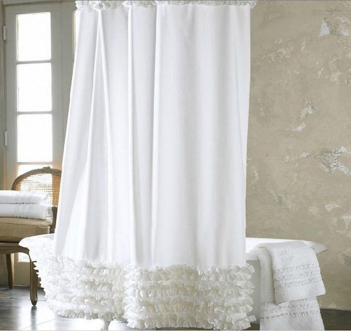 Moderne solid weiß tiered rüschen hotel bad stoff bad duschvorhang