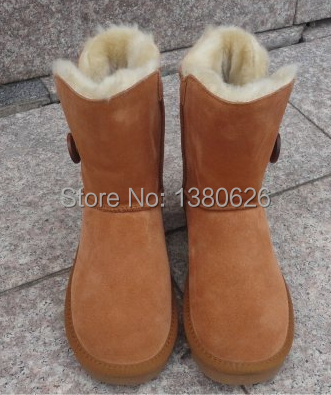 New Australia Classic Bailey Button Snow Boots Women Real Leather Short winter shoes snow boots Free Wholesale Shipping(China (Mainland))