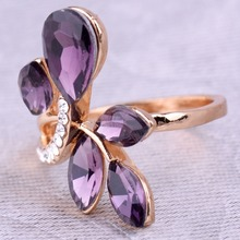 Gorgeous Rose Gold Purple Cut Rhinestone Leaves Shape Rings for Women Fine and Fashion Jewelry