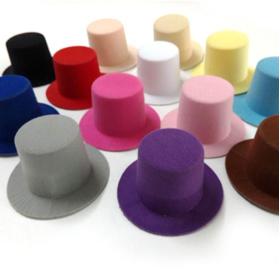 20pcs/lot DIY Hair Fascinator Hat Woman Hair Accessories 9cm 13 Color Children Girls Plain Mini Taller Top Hat. Hen Party Hat.(China (Mainland))