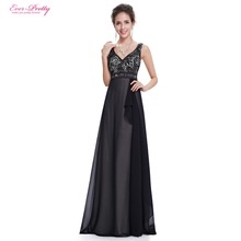 Ever Pretty Evening Dresses HE08720BK Women's Beautiful Elegant V Neck Long Party Black Sleeveless Evening Dresses 2016 New(China (Mainland))