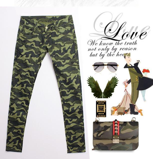 Стретч средний талия тощие джинсы роковой американский одежды военный камуфляж брюки-равномерной ...