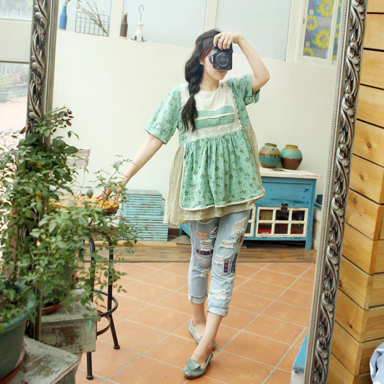 2015 new mori girl cotton and linen Fluid lace patchwork loose short-sleeve shirt top Одежда и ак�е��уары<br><br><br>Aliexpress