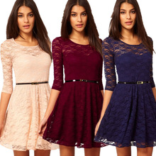 Free shipping, 2014 new arrive Sexy Spoon Neck 3/4 Sleeve Belt Include Lace colorful Sakter Dress, WD1077
