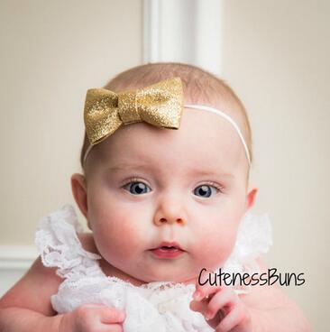 Children bronzing bowknot baby hair band elastic headband comfortable hair band(China (Mainland))