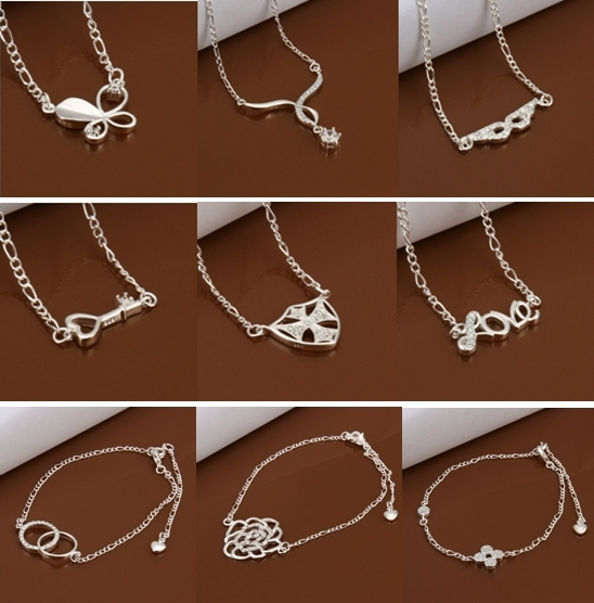 new fashion anklet bracelet 925 sterling silver jewelry bracelets & bangles anklets charms Foot Jewelry 28 styles(China (Mainland))
