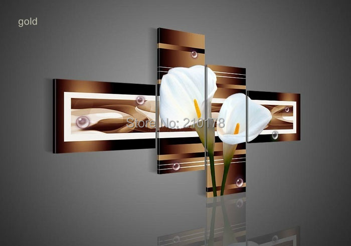 hand-painted wall art black Pure white lilies home decoration Landscape oil painting on canvas 4pcs/set DY-040(China (Mainland))