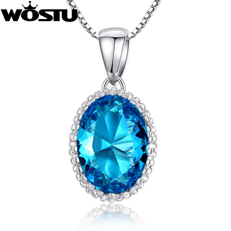 Best Christmas Gift Platinum Plated Pendant Necklaces for Women With AAAA Blue Zircon CZ Diamond Gem Stone Fine Jewelry(China (Mainland))