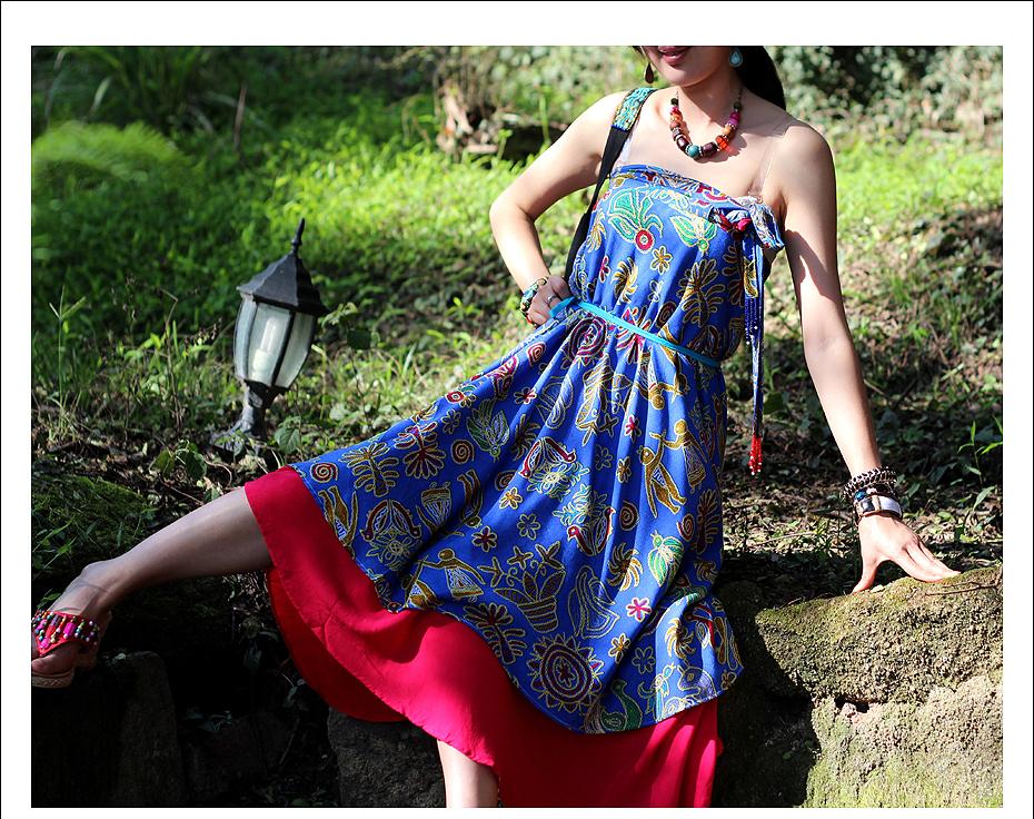 BOHOCHIC Women's National Vintage Bohemian Manual Beading Embroidery Bandeau Double-sided Swing Wrap Skirt  MY0077  Boho Chic
