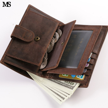 Buy MS Multi-Card Mens Crazy Horse Leather Casual Credit Card Case ID Cash Photo Holder Organizer Wallet Trifold Hasp Wallet Q314 for $25.37 in AliExpress store