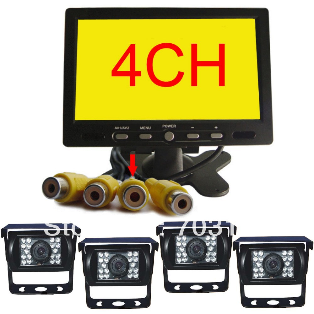 7 inch Quad Channel Car Rear view Camera Monitor kit HD CCD Parking Reverse Backup Assistance 24V Universal Vehicle CCTV system(China (Mainland))