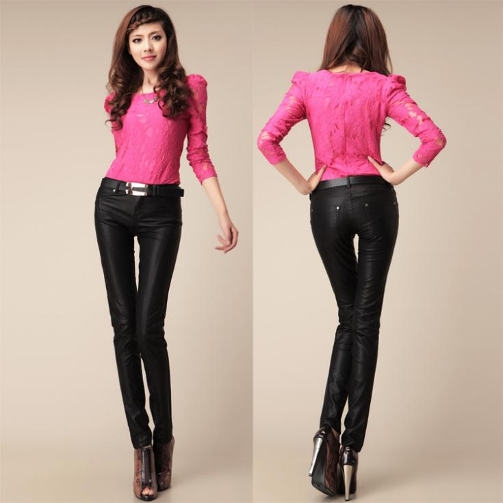 Amazing  Motorcycle Tightfitting PU Leather Pants Black Women39s Leather Pants