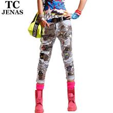Tc 2015 nouvelles femmes Summer Fashion Ripped perles paillettes trou broderie droite Capris crayon Denim pantalons Jeans WT00563(China (Mainland))