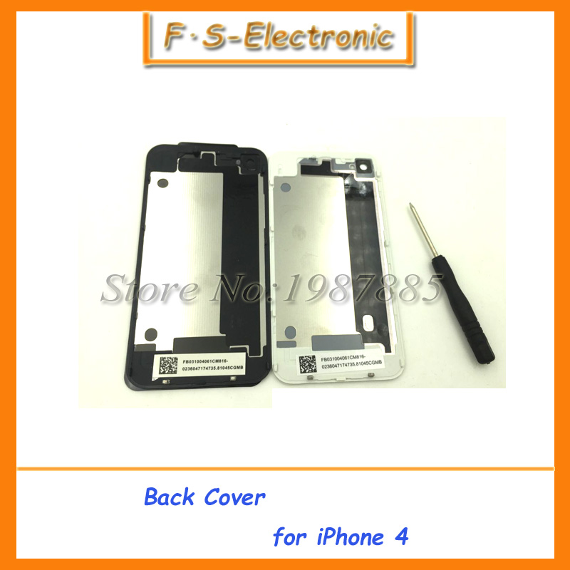 100pcs/lot Free Shipping DHL Top Quality Back Glass For iPhone 4 4S 4GS Back Housing Glass Replacement Black White Color
