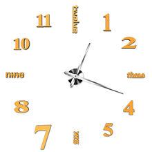 Antique Mini lustro diy powierzchnia naklejka-zegar na ścianę cichy zegar 3D zegarek salon dekoracje do domowego biura prezent na boże narodzenie(China)