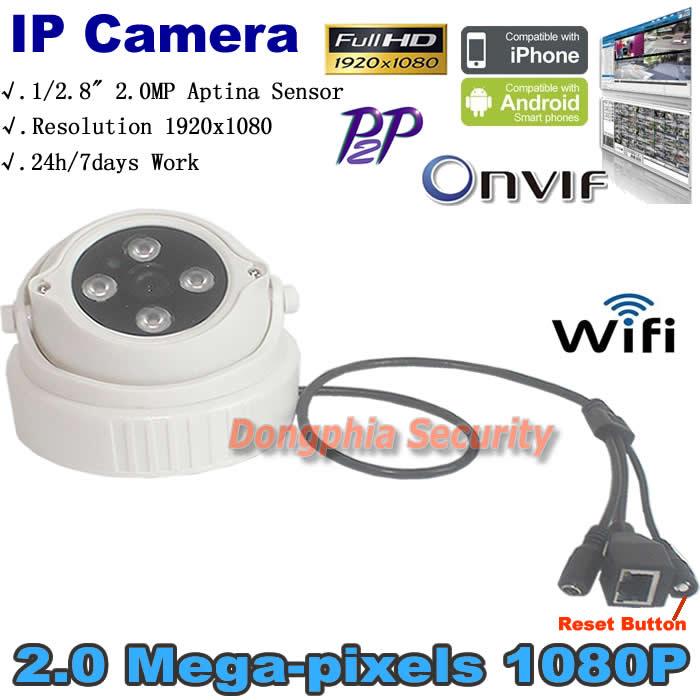 Фотография Mini camera night vision 2.0MP 1080P 4pcs leds Dome Surveillance system IP Network CCTV Support Phone Android IOS P2P ONVIF