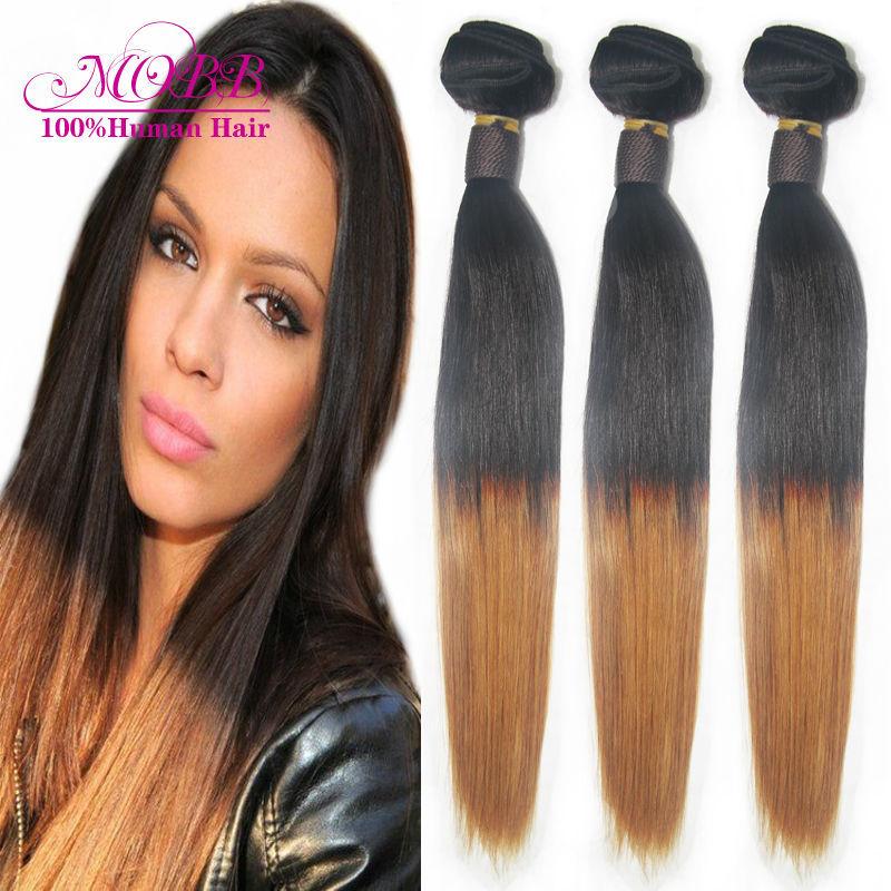 Ombre Brazilian Virgin Hair Silky Straight Human Hair Extensions 3