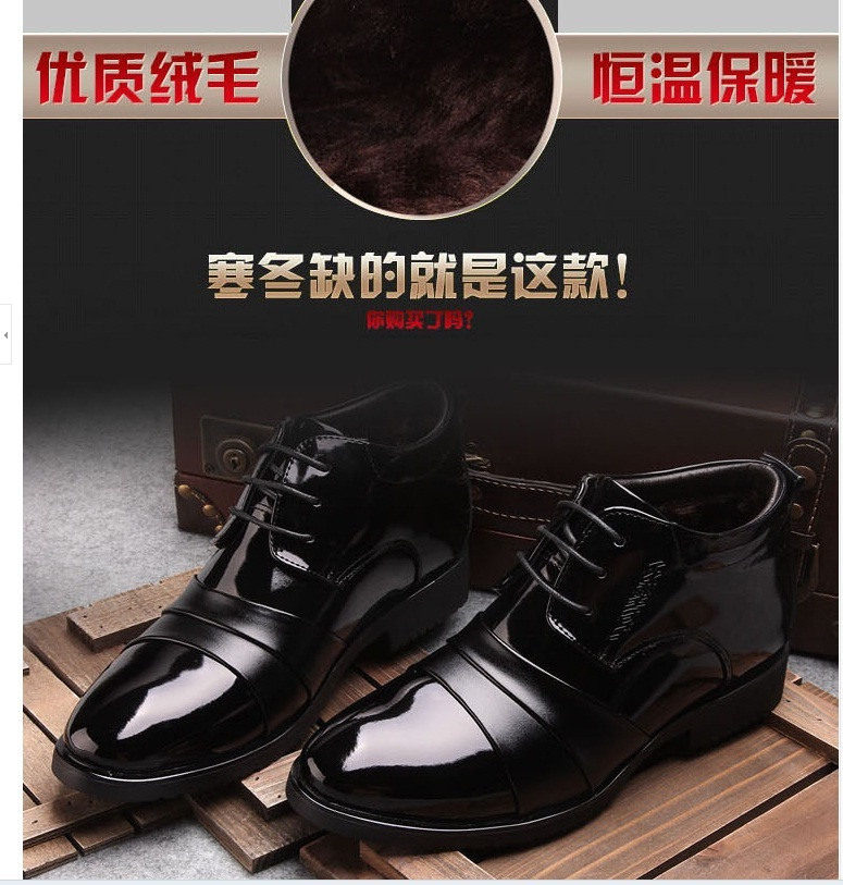 Special offer a clearance high help leather warm winter cotton-padded leather shoes business suits men tide male cotton shoes(China (Mainland))