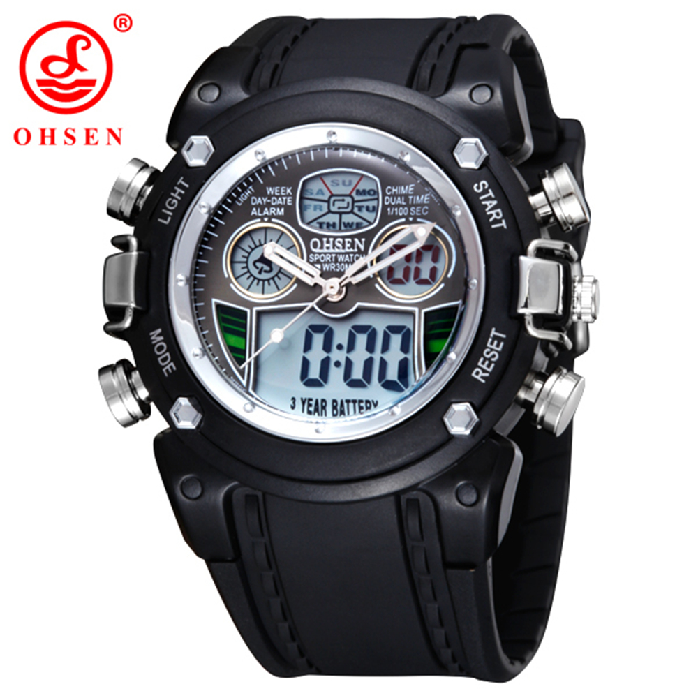 Hot OHSEN AD0721 LCD Dual Core Quartz Watch Mens Sports Multifunction Analog Digital Alarm Clock Sport Backlight - ohsen watches China store