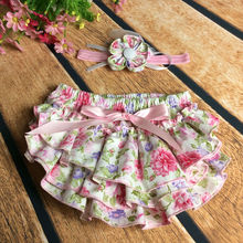 Newborn Baby  cotton Bowknot  Ruffle Bloomers PP+ baby headband Shorts Pants  Skirt  headwrape Dress Freeshipping(China (Mainland))