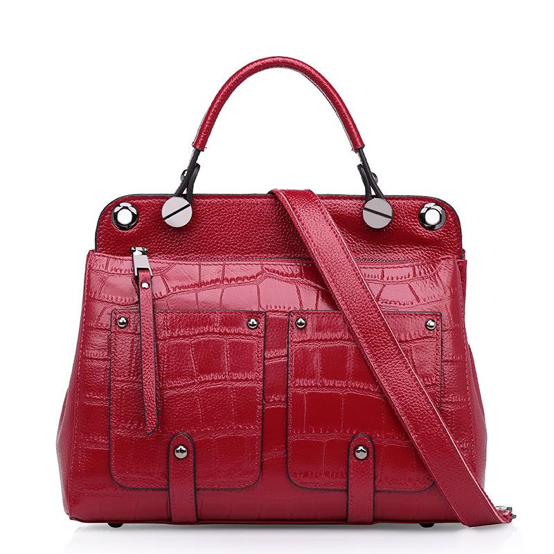 Fashion Women Genuine Leather Handbag Ladies Stone Grain Cowhide Rivet Pocket Tote Shoulder Crossbody Bags Female Bolsas QZ5683