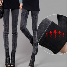 washing black sexy womens jeans denim winter warm fleece 2015 fashion women jeans slim pencil skinny denim Free Ship
