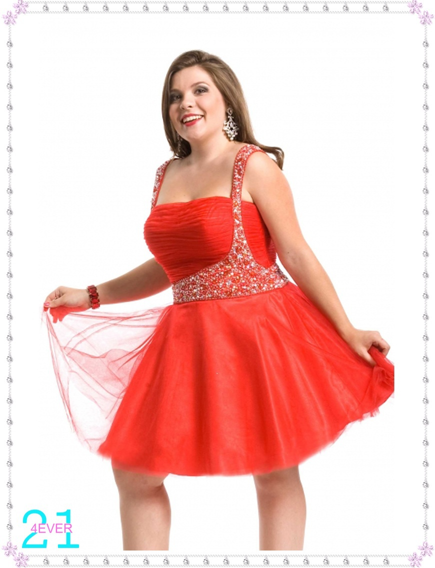 Elegant Sequined Beaded Short Mini Sexy Red Tulle Prom ...