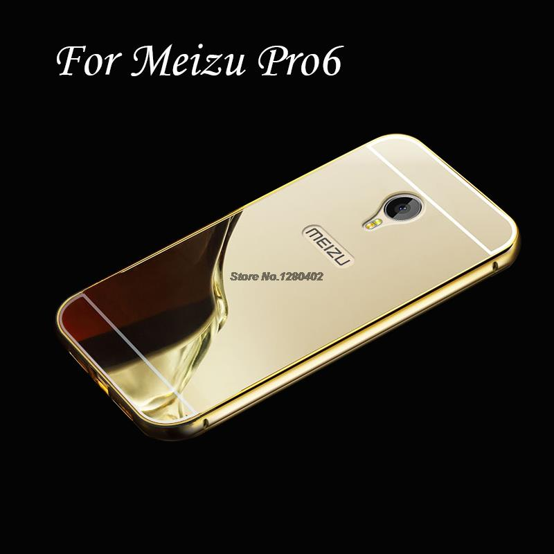 Gold Plating Alloy Acrylic Back Mirror Case For Meizu Pro6 With Metal Aluminum Edge Cover For Pro 6 Coque Funda Capinha(China (Mainland))