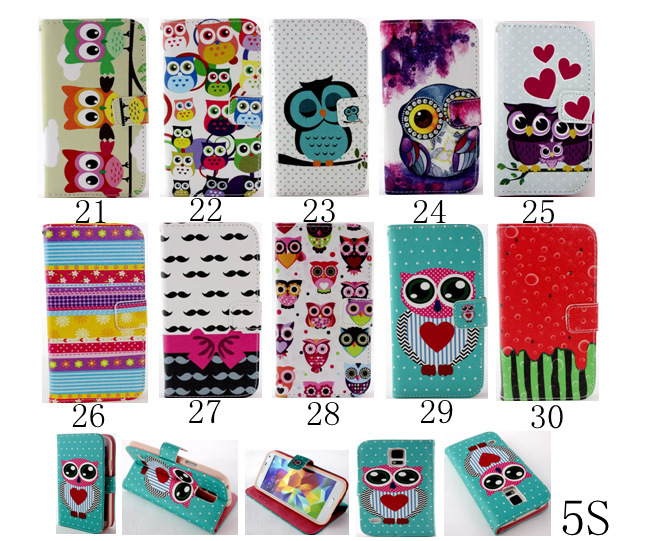 10pcs/ New Magnetic Leather Case For iPhone 5 5S COACHs Painting Wallet Case PU Cover with Card Holder Stand Skin 30 style(China (Mainland))