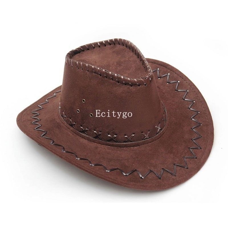 6x Fashion Cowboy Hat Suede Look Wild West Fancy Dress Mens Ladies Cowgirl Unisex Hats 11 Color(China (Mainland))