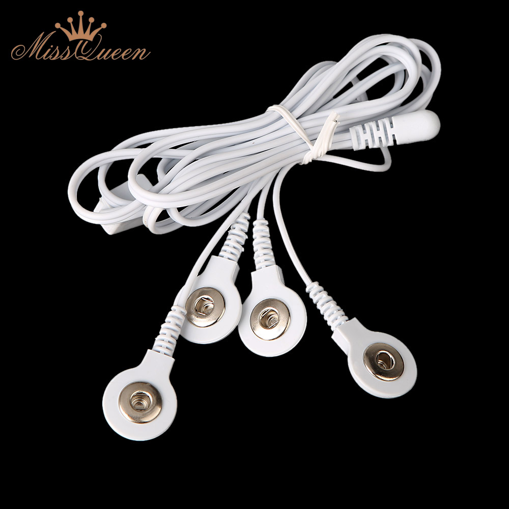 Top quality 2.5MM 4 in 1 Head electrode wires Connecting Cables for Digital TENS Therapy Machine Massager(China (Mainland))