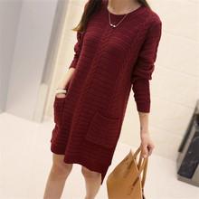 2015 New Winter Knitted Dress Fall Fashion Women Casual Long Sleeve O-Neck Loose Knitting Pocket Sweater Dresses Vestidos(China (Mainland))
