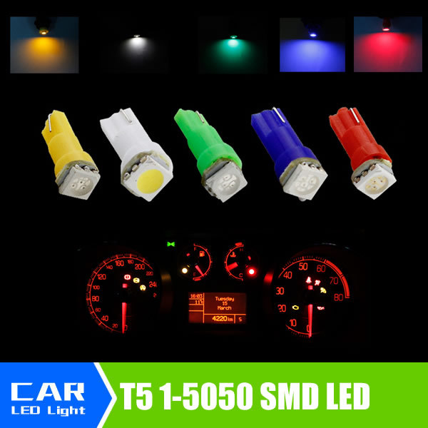 2 Car Interior LED light T5 1 SMD 5050 led Dashboard Vehicle Light Bulb Yellow/Blue/green/red/white car source - Siweex Autoparts Store store