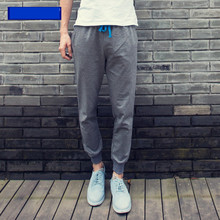 Fashion Men Sport Pants Cotton Material Drawstring Men Trousers Running Exercise Men Long Pants Breathable