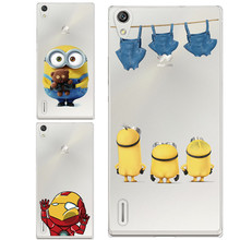 Cute Cartoon Minnie Despicable Minion Iron Man Painted Soft Silicon Cover Back Rubber Case Huawei Ascend P7 - Junland Jewelry Factory store