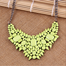 2015 New Fashion  Jewelry Koraen Style  Light Green Color Alloy Chain Light green Rhinestone Necklace For Women N1632(China (Mainland))