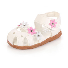 2016 Floral Summer Girls Sandals Anti-kick Toe-cap Children Shoes Soft PU Leather Baby Girls Shoes Kids Sandals EU21-31 CSH113(China (Mainland))