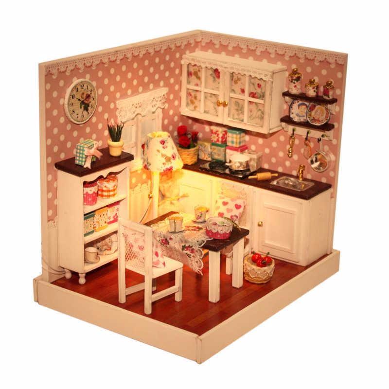 DIY Handmade Wooden Miniature Doll House Kit Room Box Kids Toys Lighting Dolls Houses Kit Furniture Happy Kitchen Dining Room(China (Mainland))