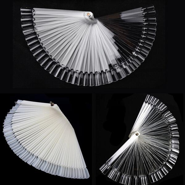 5Clear Fan-shaped False Fake Nail Art Tips Sticks Polish Gel Salon Display Chart Practice Tool White/Clear - NEW SWELL Festive & Party Supplies Stores store