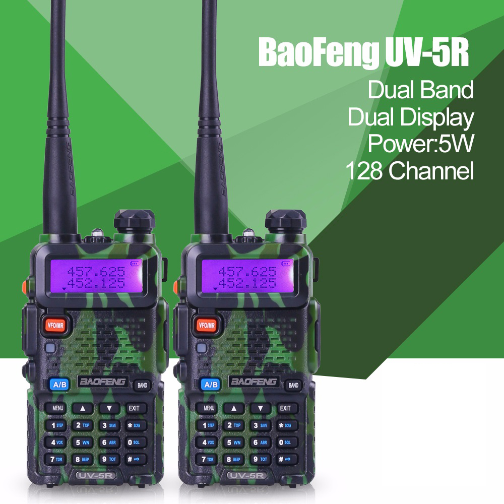 2pcs Promotion Camouflage BAOFENG UV-5R Walkie Talkie Dual Band Radio 136-174Mhz &400-520Mhz Baofeng UV5R handheld Two Way Radio(China (Mainland))