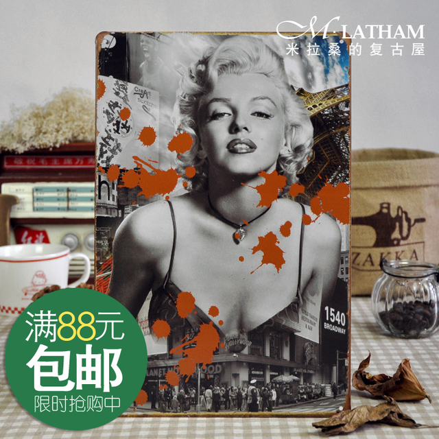 Metal painting decorative painting muons series vintage retro sexy monroe finishing