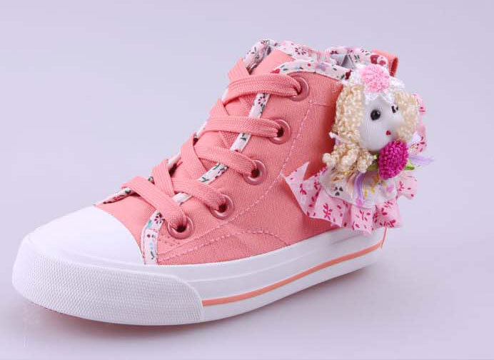 girls' lace-up zipper high cuff sweetly canvas sneakers(China (Mainland))