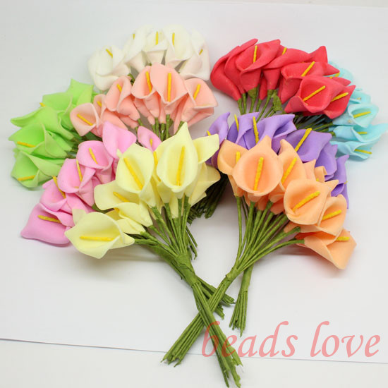 2.5cm head Multicolor handmade pe foam Calla Lily flower Bouquet/ Scrapbooking artificial lily flowersPick color(w02628-w02637)(China (Mainland))