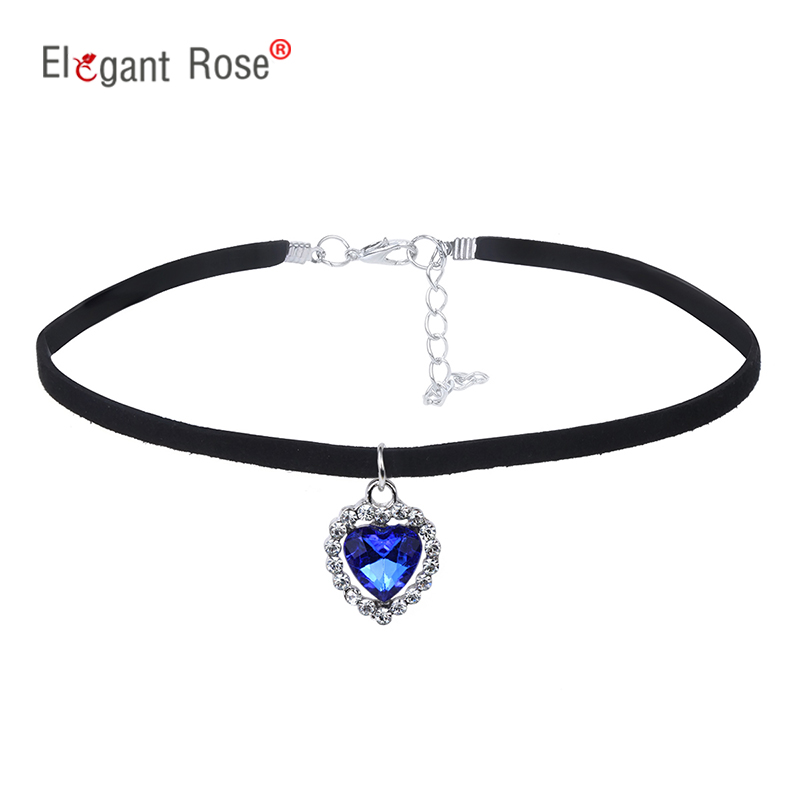 2017 New Fashion Heart Ocean Rhinestone Chokers Necklace Women Trendy Lace Villus Cord Short Necklace Fine Jewelry NM3654