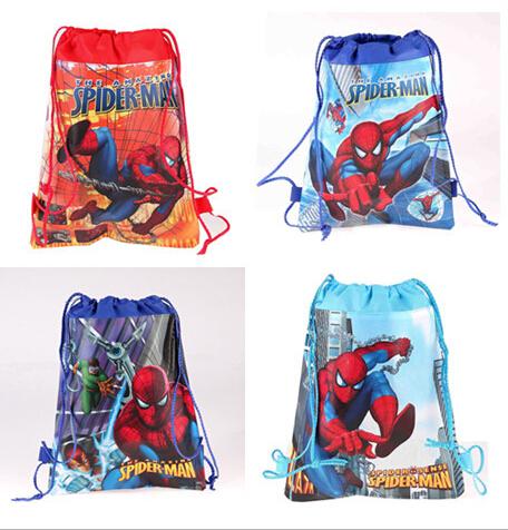 CM418 2015 new Kids Cartoon Printed Drawstring Bag 36cm*28cm children's spider man school bags nonwoven drawstring backpack(China (Mainland))