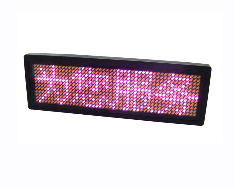 1pcs New Pink 12x48 Pixels LED Name Badge Sign Scrolling Advertising Business Name Card Show Tag Display Rechargeable(China (Mainland))