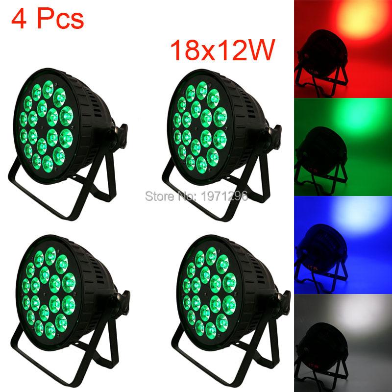 4 Pcs18x12W 4IN1 RGBW Led Par Can Light DMX Stage Lights Business Par Lights Professional Par Can Party KTV Disco DJ Lamp