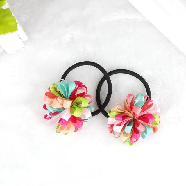 Colorfully Boutique Bows Elastic Hair band for girl and woman hair Accessories Ribbon Bow Hair Tie Rope Hair Band
